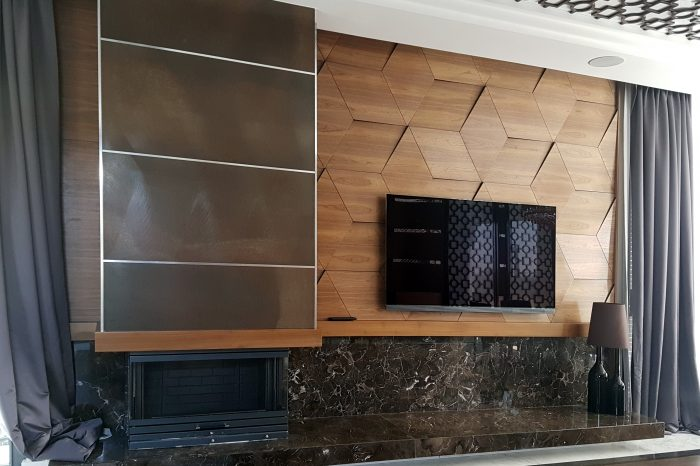 3D effect panel and solution for TV and fire-place wall
