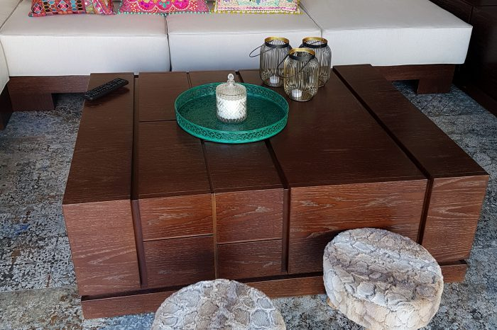 Asian style custom SPA table, sofa, wall panel