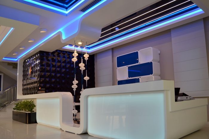 Complete design for reception desk with furniture