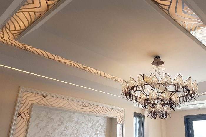 Decorative ceiling and wall details with lights