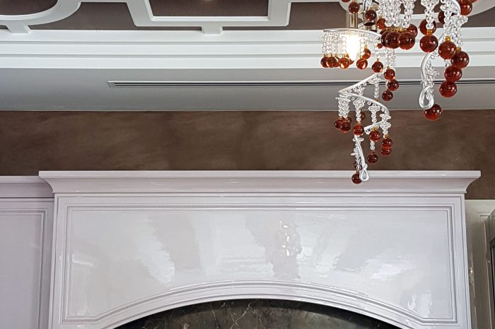 Details of the ceiling and backsplash marble