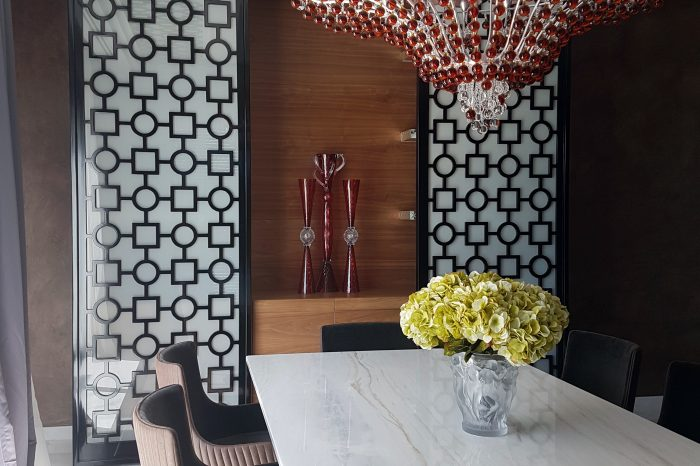 Dining room buffet with sliding panels